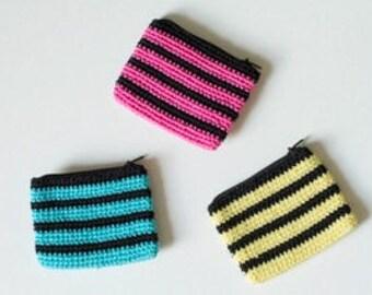 Striped Crochet Coin Purse