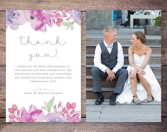 Printable or Printed Wedding Photo Thank You Card, Flowers, Floral Wedding thank you cards photo, personalized thank you – Sadie