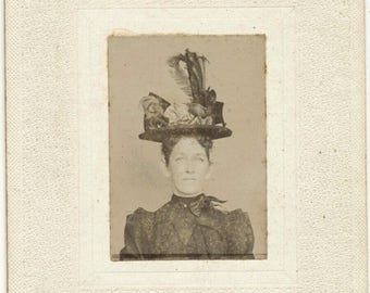 Photo Circa 1907 Woman with Tall Hat
