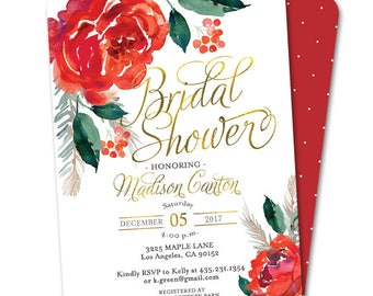 Christmas Bridal Shower Invitation Holiday Bridal Shower Invite Xmas Bridal Shower Winter Bridal Shower Red and Green Christmas Floral