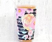 Blush Florals Black Stripes Cozy, Cup Cozy, Iced Coffee Cozy, Cup Sleeve, Flower Coffee Cozy, Coffee Cuff,