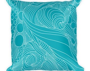 """Abstract Octopus Teal and White Linework Patterned Square Throw Pillow - 18"""" x 18"""""""