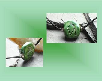 Green Archangel Uriel Necklace Angel Sigil Ceramic Pendant Sacred Protection Divine Amulet