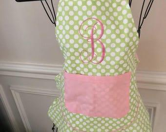 Children Apron | Girl Apron | Kid Apron | Birthday Gift Apron | Flower Apron | Pink Apron | Monogram Apron | Embroidery Apron | Easter Apron