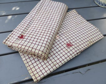 Pair Pillow Cases White Linen  Check  Pillowcases Red +   Blue Stripes Monogram MK Euro Pillow Shams Covers  Upholstery Plaid Kelsch Unused
