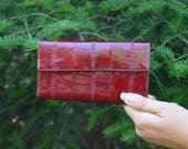 Red Vintage Wallet, Red Eel Skin Wallet, Gift for Her, Buxton Wallet, Women's Wallet, NOS Wallet, Christmas Gift, Deep Red Ladies' Wallet