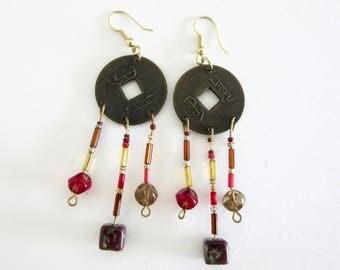Chinese Coin Earrings - Beads - Dangle Earrings -