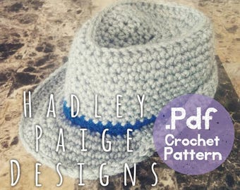 Crochet FEDORA instant download .PDF pattern. Size 0-6 months.