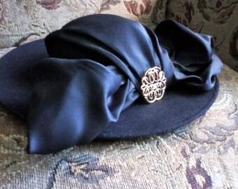 Wide Brim Black Hat, Excello, Archie Eason, by Geo. W. Bollman & Co.,Inc, Kentucky Derby, Ascot Races, Sunday Best Hat