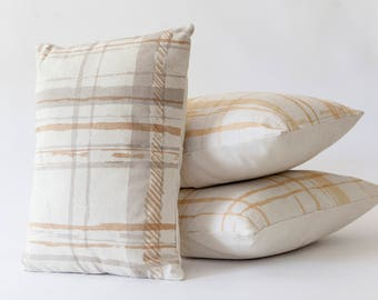Hand Printed Plaid Throw Pillow Cover 16x16