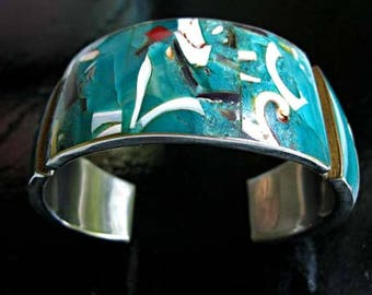 Silver Cuff Enamel Bracelet, Abstract Art Mid Century Modern, Teal Cream Silver Red, Wide Sectioned Panels, Graffiti Art