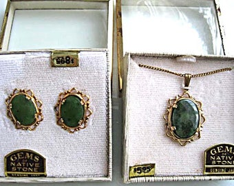 Vintage Jade Pendant and Earrings, Gold Oval Frames, Old Store Stock, Marbled Green Translucent Jade Stones, Original Labels