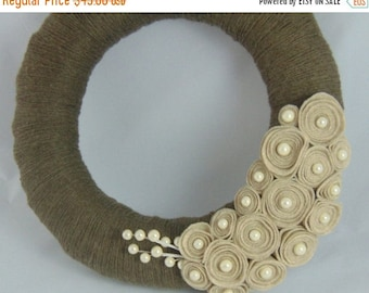 BACK to SCHOOL SALE Natural Brown and Cream Felt Flower Yarn Wreath - Pearl Accents