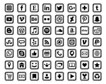 Black Sketch Square Social Media Icons Set | Transparent Avatar Flat Color Buttons Blog Website | Digital Icons | Personal or Commercial Use