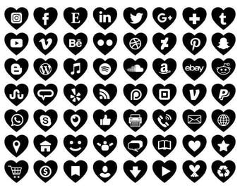 Heart Social Media Icons Set | Transparent Black Symbol Avatar Flat Color Buttons Blog Website | Digital Icons | Personal or Commercial Use