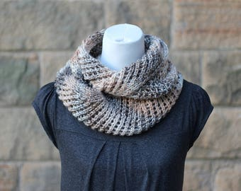 KNITTING PATTERN for women, scarf pattern - Coffe ripple lace infinity scarf snood cowl- Listing24