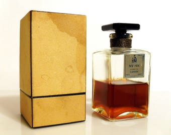 Vintage 1930s My Sin by Lanvin 2 oz Parfum Extrait Perfume Bottle & Presentation Box