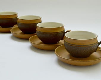Set of Four  Vintage Denby Cups and Saucers