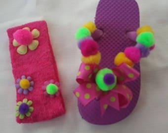 Purple Flip Flops and Headband Set, Pompoms