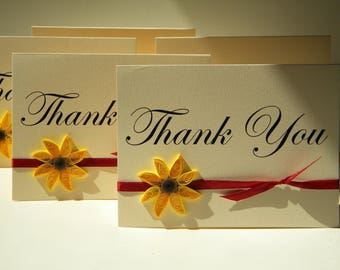 Sunflower thank you cards with orange ribbon