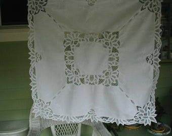 Vintage Battenburg Tablecloth or Table Topper, Measures 41 x 42 Inches, Cottage Chic, Shabby Cottage, Tea Party Pretty