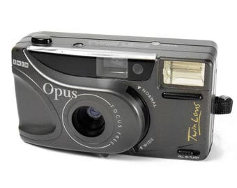 Vintage 1990s Opus Twin 35mm Compact Point & Shoot Retro Film Camera with Manual