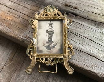 Antique French Gilt Picture Frame, Miniature Ormolu Photo Portrait Easel, Chateau Chic Style