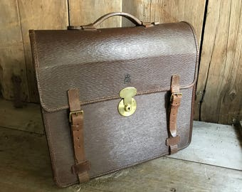British Leather Briefcase, Royal ER, Attache Portfolio Case, English Lever Brass Lock