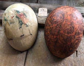 1898 French Chocolate Box Egg, Silk Top, Original Shop Label, Chocolat, Romantic