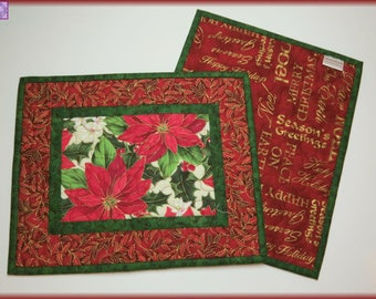 Quilted Christmas Mug Rugs Candle Mats Amaranth Poinsettia 669