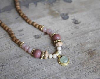 Brown jasper necklace, Prehnite necklace, Bohemian beaded necklace, Multi gemstone necklace, Gemstone beaded necklace, Green stone pendant