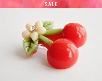SALE Rockabilly Cherry Brooch