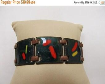 ON SALE Vintage Modernist Copper Enameled Bracelet Item K # 2632