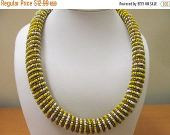 ON SALE Vintage Glass Beaded Wired Necklace Item K # 962