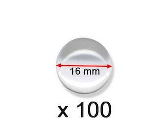 100 Cabochons verre rond 16mm bombés lot grossiste