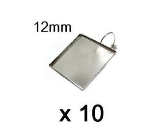 10 supports earrings silver square 12mm cabochon Stud Earrings