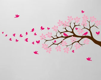 "Tree Branch Wall Decal Butterfly Birds Vinyl Sticker Nursery Leaves Kids Room Decor Art Whimsical 44"" Wide X 28"" High Branch #1371"