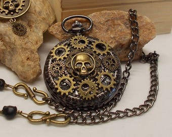 """Steampunk Skull Pocket Watch & Key Ring Gift Set in Wood Box - Stunning 14"""" Men's Chain/Clip Or Classic Necklace Made In Your Length"""