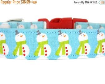 ON SALE READY to Ship- Snowman Dog Collar, Christmas Dog Collar: Snowman
