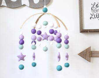 Purple & Teal Star Mobile, Felt Ball Mobile, Baby Mobile, Crib Mobile, Nursery Cot Mobile, Pom Pom Mobile, Nursery Mobile, Gender Neutral