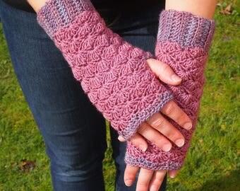 Rose garden fingerless gloves, pink and lavender mittens