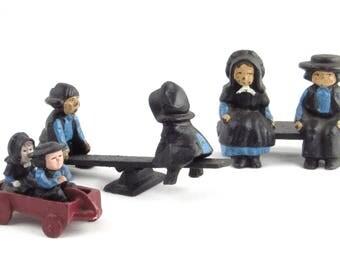 Miniature Amish Family - Unique Figurines - Vintage Home Decor