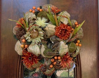 Fall Wreath with Wooden and Moss Turkey