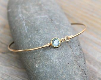 Personalized Bangle bracelet, 14k Gold Filled, Swarovski birthstone bracelet, stacking bangle, customized gift, bridesmaids