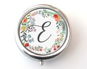 Pill Box, Personalized Monogram Pill Box, Floral Trinket Box