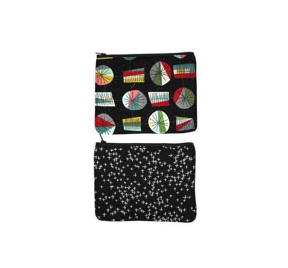 zipper pouch, cosmetic bag, change purse, retro, black, vintage, vinyl