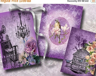 50% off Purple Digital Collage Set, Purple Hang Tags, Purple Gift Tags,Lavendar Digital Download, Commercial, High Resolution  No. 710
