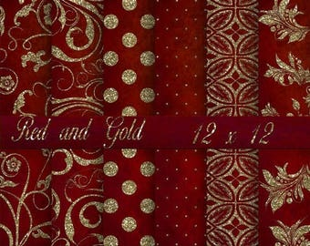 SALE Red and Gold Digital Background Paper, Printable Paper, Red and Gold Glitter, Paper, Digital Back Drops for photos. No 1536