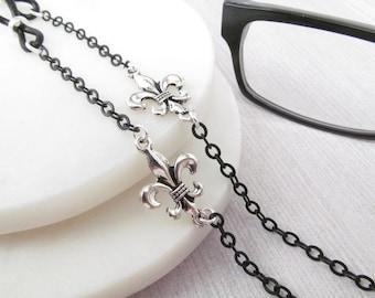 Black Eyeglass Chain with Fleur-de-lis accents; Black Glasses Chain - Eyeglass Holders Necklaces - Cadena Gafas - Reading Glasses Necklace