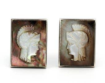 Roman Soldier Cuff Links, Carved Shell Cuff Links, Vintage Intaglio Cufflinks, Gladiator Warrior Jewelry, Vintage 1950s Sterling Cuff Links
